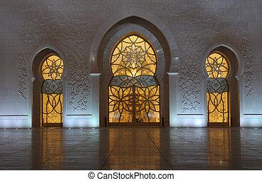 jeque, unido, zayed, mezquita, detalle, árabe, emiratos, abu dhabi, night.