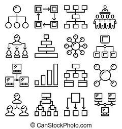 jerarquía, fondo., vector, iconos del negocio, conjunto, blanco, estructura