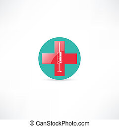 Jeringa médica y cruz