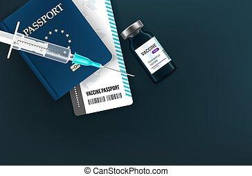 jeringuilla, concept., vacunación, ilustración, frasco, 3d, vector, estilo, pasaporte