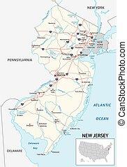 jersey, norteamericano, estado, nuevo, mapa de camino, nosotros