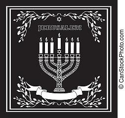 jerusalén, feriado, menorah, plano de fondo, vector