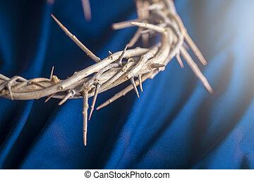 jesús, espinas, corona, llevó