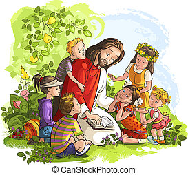 Jesús leyendo la Biblia con niños