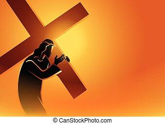 jesús, llevar, el suyo, cruz