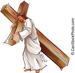 Jesucristo sosteniendo cruz