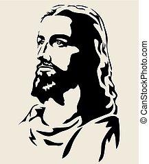 Jesus face silueta