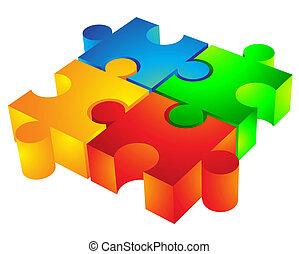jigsaw:, 3d, icono