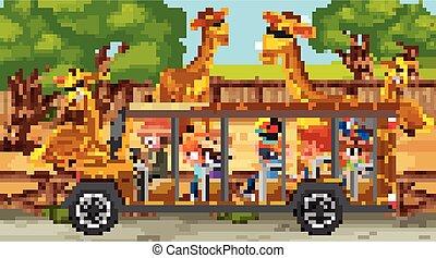 jirafa, safari, grupo, niños, escena, mirar