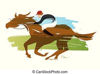 Jockey a caballo, carreras de caballos.
