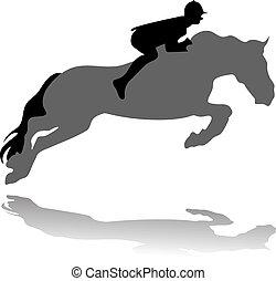 Jockey con un caballo saltarín