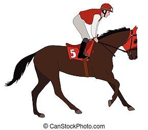 Jockey montando a caballo de carreras 5