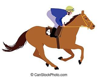Jockey montando a caballo de carreras