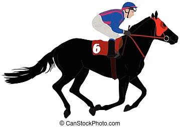 Jockey montando a caballo ilustración 6