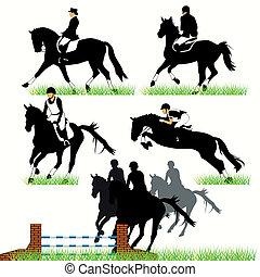 Jockeys y caballos siluetas