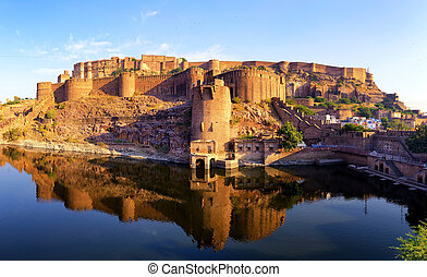 jodhpur, palacio, india., indio, fortaleza, mehrangarh, rajasthan