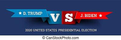 joe, unido, presidencial, donald, triunfo, elecciones, vs., vector, biden., states., ilustración