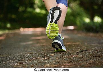 jogging, cámara, lejos, mujer