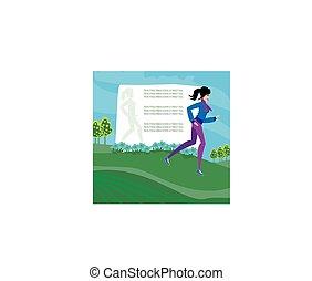 Jogging girl, cuadro abstracto con espacio para el texto