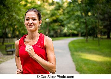 jogging, mujer, parque, joven