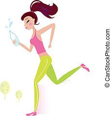 Jogging o corriendo una mujer sana con una botella de agua