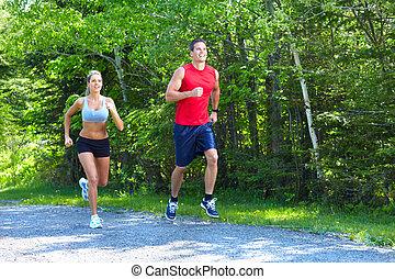 jogging, pareja.