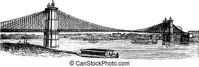 John A. Roebling puente de suspensión, desde Cincinnati, Ohio a Covington, Kentucky, grabados antiguos de EE.UU