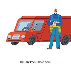 joven, azul, servicios, servicio, carga, uniforme, maestro, herramienta, jumpsuit, concept., hombre, reparación, móvil, blanco, fondo., belt., factótum, furgoneta, aislado