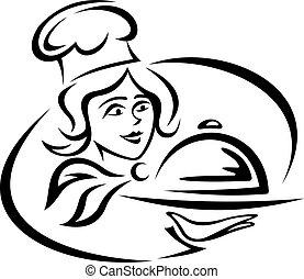 Joven camarero con bandeja de comida
