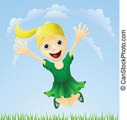 Joven chica feliz saltando