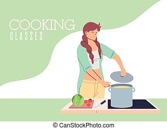 joven, cocina, clases, mujer