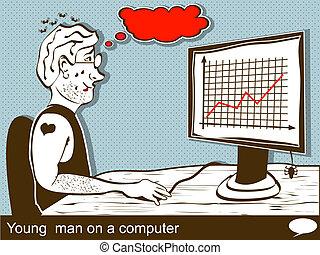 Joven en una computadora