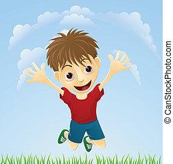 Joven feliz saltando