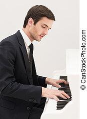 joven, formalwear, confiado, everything., música, piano tocar, hombre