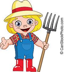 joven, granjero