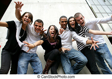 joven grupo, posar, foto