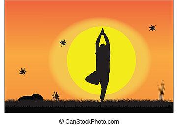 Joven haciendo yoga en paz