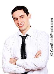 Joven hombre de negocios aislado sobre blanco