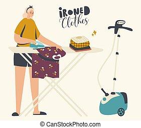joven, lino, limpio, lavado, home., día, planchado, doméstico, ropa, ama de casa, mujer, hierro, cada, carácter, rutina