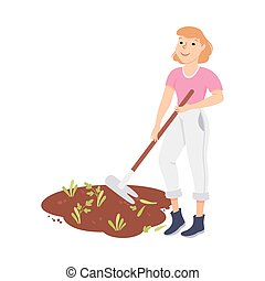 joven, malas hierbas, ilustración, granjero, vector, trabajador, agrícola, hembra, azada, grubbing, o, tirar