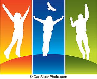 joven, saltar, tres personas