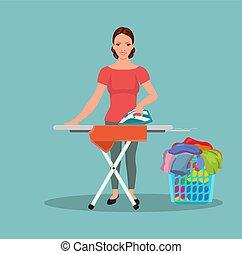 Joven y feliz mujer atractiva planchando ropa