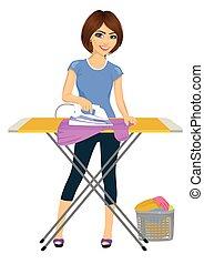 Joven y feliz mujer atractiva planchando ropa. Trabajo doméstico