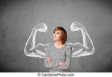 Jovencita con brazos fuertes