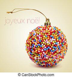 joyeux, noel, alegre, francés, navidad