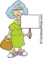 jubilado, dama, señal