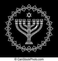 judío, menorah, religioso, plano de fondo, vector