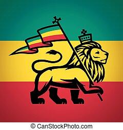 Judah Lion con una bandera rastafari. Rey de la ilustración de logo de zión. Diseño de vectores de música reggae