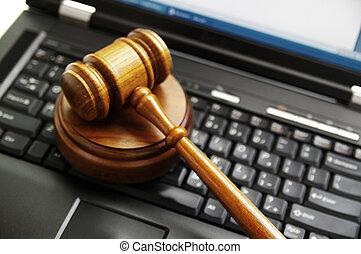jueces, law), computadora de computadora portátil, (cyber, martillo