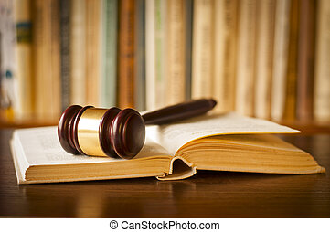 jueces, libro, ley, martillo, abierto